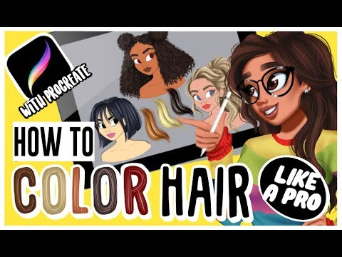 🖤HOW TO DRAW & COLOR HAIR 🖤*Tutorial* Digital Art With PROCREATE thumbnail
