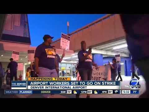 Denver airport workers join strike over pay, working conditions