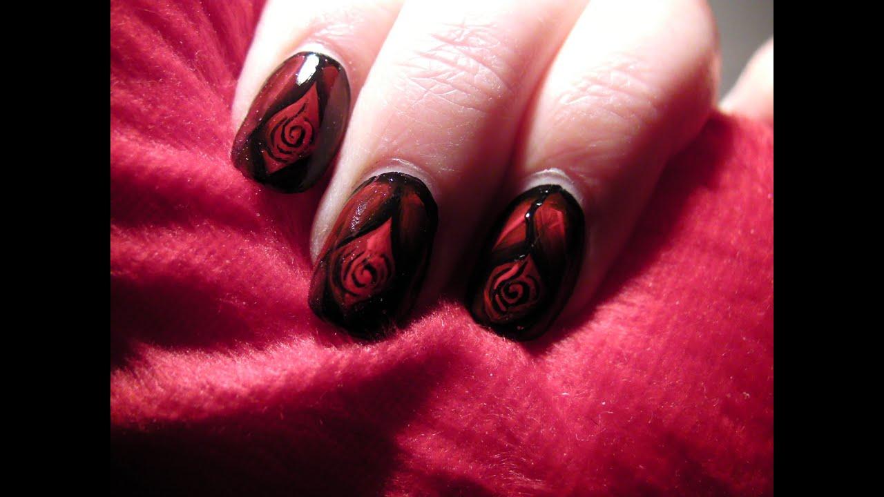 Dark Rose One Stroke Nail Art - YouTube