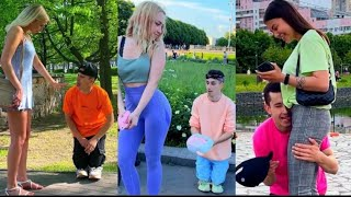 dwarf man funny prank girls reactions russian prank