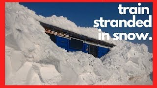 Snow Blower Train Stranded in Snow - (HD, 1080p) - Train Snow Plow - Rotary Snow Plow Blower