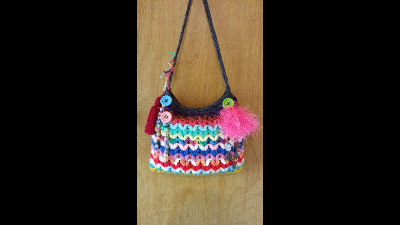 CROCHET How to #Crochet Crazy Scrap Yarn Bag with Puffed V Stitch # ...