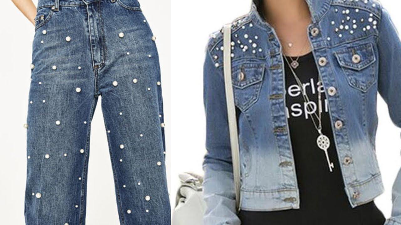 Jeans De Moda Decorados Con Pedreria Y Perlas Fashion Love Youtube