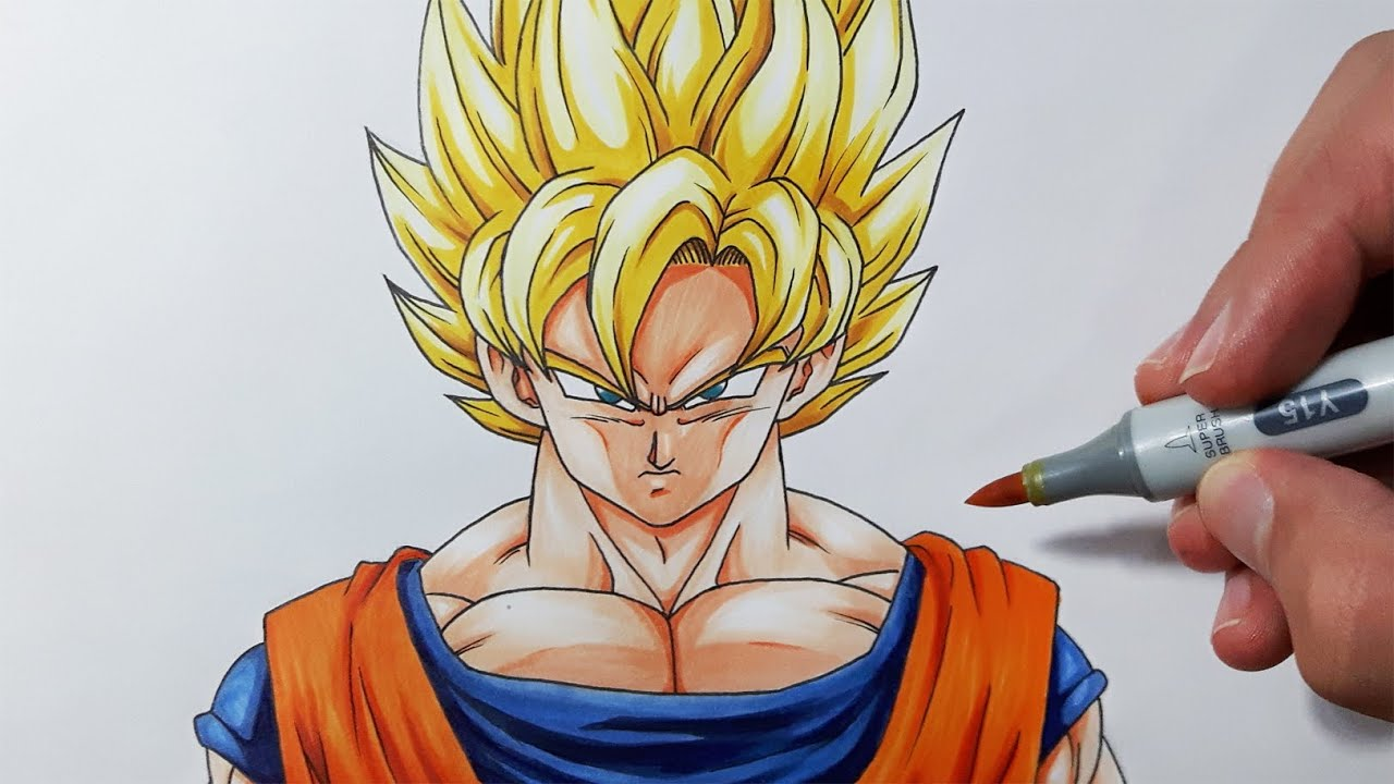 How To Draw Goku Super Saiyan Step By Step Tutorial Youtube