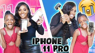 Destroying Yaya's iphone and Getting Her a New iphone 11 pro