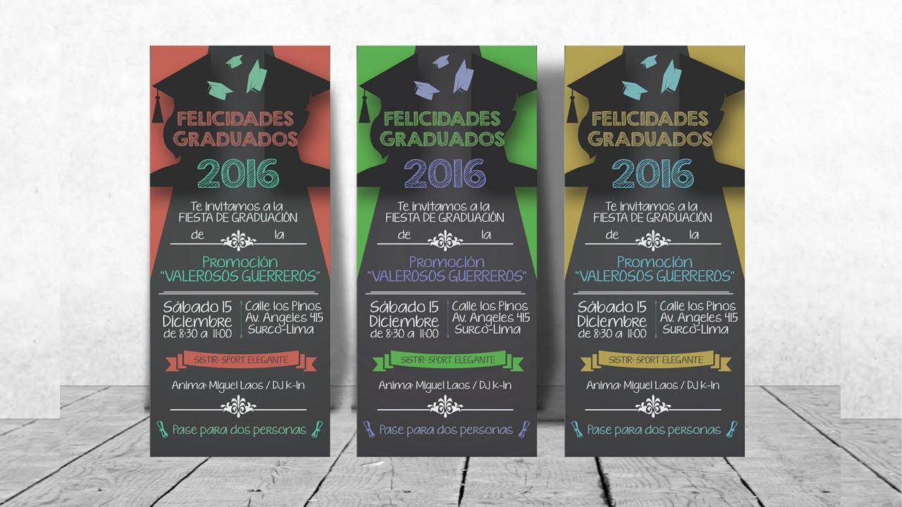Tarjeta De Invitacion Para Graduación Estilo Pizarra