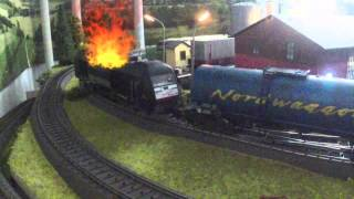 Model Train Action Video: Train on Fire! AC H0 Scale