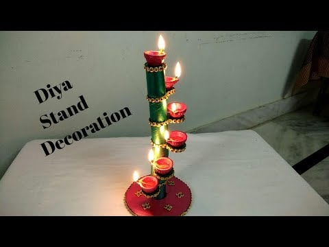 Easy diya decoration ideas at home in this diwali // diya stand using cardboard // candle stand