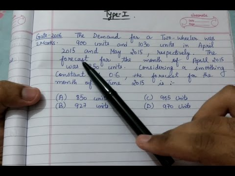 Forecasting || Simple exponential smoothing Numericals || Type-1 || Gate Questions (Hindi)