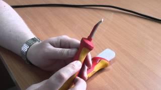 Нож с пяткой для снятия изоляции Knipex 9855. Обзор(Небольшой обзор ножа для снятия изоляции с кабелей, с пяткой, Knipex 9855., 2015-05-22T17:25:16.000Z)