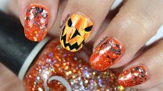 Halloween Nails - Halloween Nail Art *abstract Jack-o-lantern*