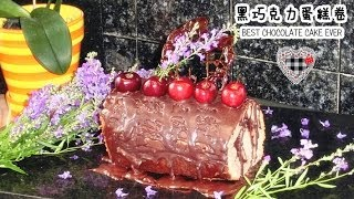 Dark Chocolate Cake Roll | 黑巧克力蛋糕卷 | Chocolate Swiss Roll Cake - JosephineRecipes.co.uk
