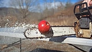 Chopping Fruit with Chainsaw in Slow Motion
