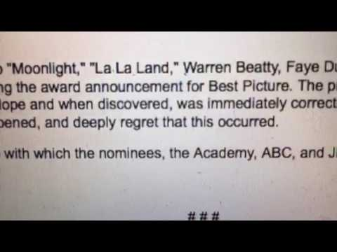 Academy Accountant PWC Statement On Oscars Best Picture Moonlight, La La Land, Award Mistake #Oscars