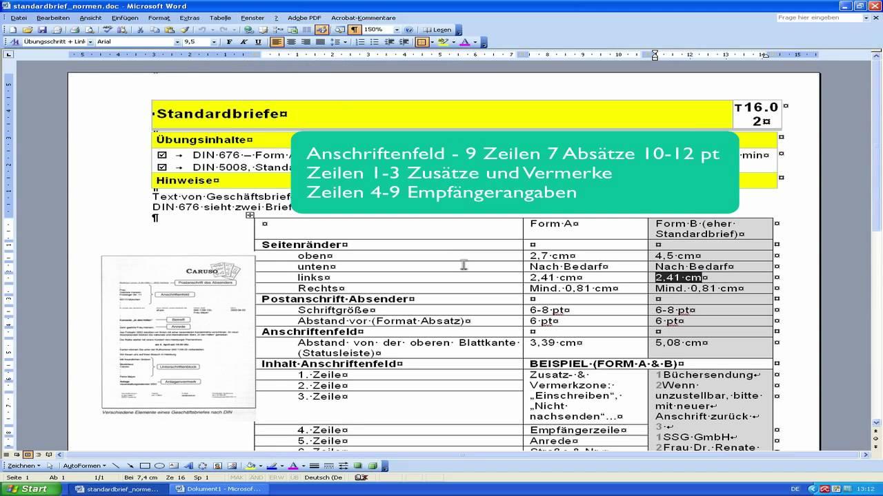 Word 2003 Din Norm Geschäftsbrief Gestalten 1 Youtube