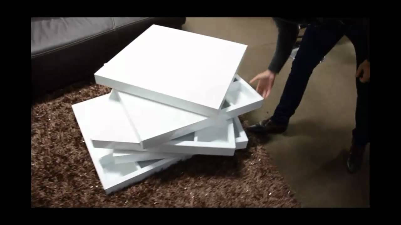 Modern White Lacquer Rotating Coffee Table With Storage | (866)397 0933  LAFurnitureStore.com   YouTube