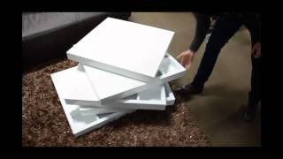 Modern White Lacquer Rotating Coffee Table With Storage | (866)397-0933 Lafurniturestore.com