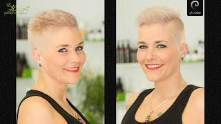 extreme short buzzcut women  crew cut girl  platinum blonde women undercut short haircut pixie ins
