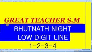 Satta Matka Bhootnath Night Bazar Fadu Low Digit Line By Great Teacher S.M
