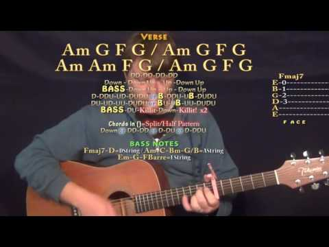 Party Monster (The Weeknd) Guitar Lesson Chord Chart - Capo 6th - Am G F