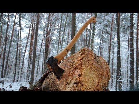 Валка дерева топором. Gransfors Scandinavian Forest Axe.