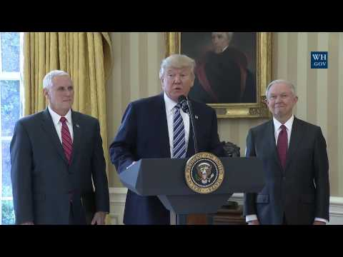 Jeff Sessions sworn-in by Trump and Pence as Attorney General of the United States
