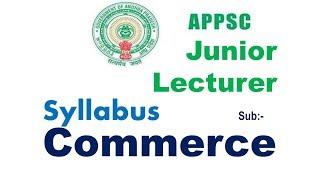 JL Commerce Sllabus In English & తెలుగు Medium Appsc Junior Lecturer Commerce