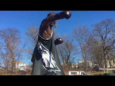 Rocky statue in Massachusetts gets Eagles makeover thanks to Super Bowl bet