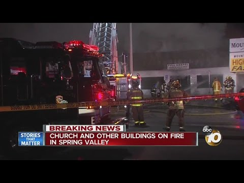 Church and other buildings on fire in Spring Valley