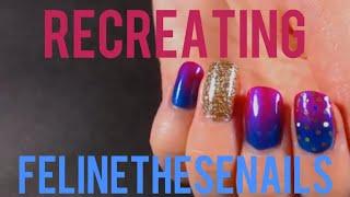 Recreating FelineTheseNails royalty nail art