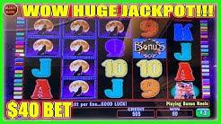 WIFE PICKS A WINNING A MACHINE! HUGE JACKPOT   $40 BET WOLF RUN HIGH LIMIT SLOT MACHINE