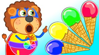 Lion Family   Rainbow Fruit Ice Cream   Cartoon for Kids