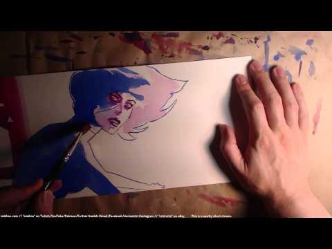 watercoloring a woman at a computer (A* 26:46)