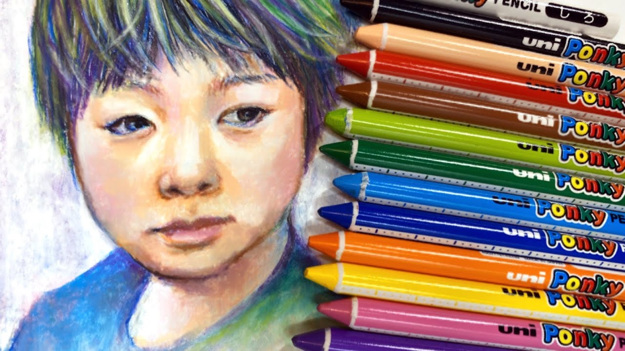 【1本80円の激安文具で本格絵画に?!】ポンキーペンシルだけで人物画描いてみた【I drew a portrait with a cheap stationery Ponky Pencil.】