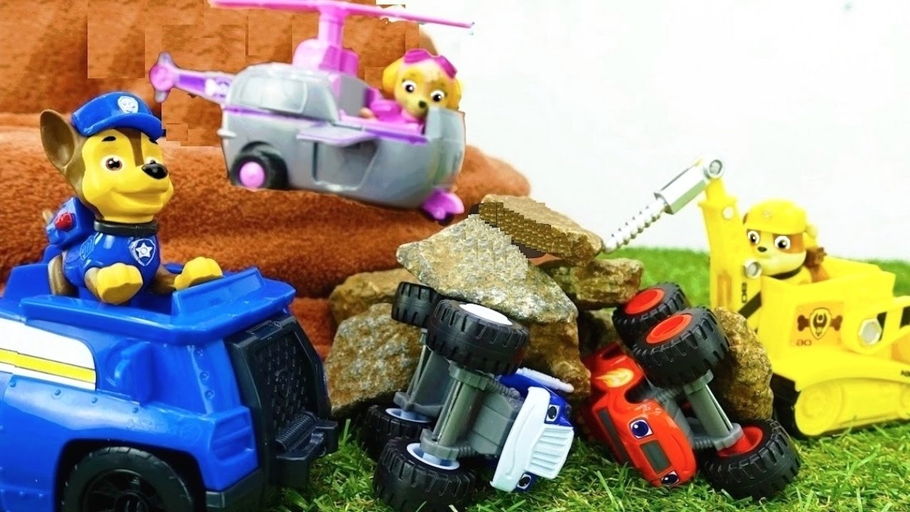 rock slide paw patrol u0026 blaze u0026 crusher toy trucks stories toys