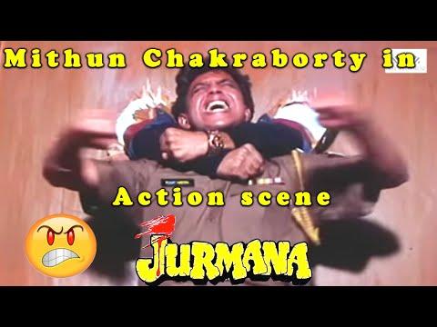 Mithun Chakraborty In Action Scene From Jurmana Bollywood Action Hindi Movie
