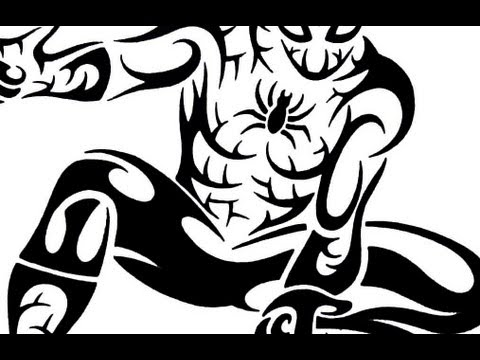 How To Draw Spiderman Tribal Tattoo Design Style YouTube