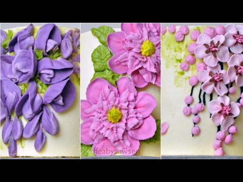 New series: Mini buttercream flower cakes 1/4- wisteria, cherry blossoms & Clematis - relaxing