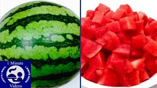 How to Peel and Cut a Watermelon in One Minute / into Cubes, Easy Cooking Tricks