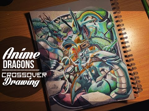 Anime Dragon's Drawing Crossover - Rayquaza Shenron Blue Eyes ...