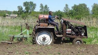 Вспашка огорода  в деревне и посадка тыквы 3.06.2017 г.