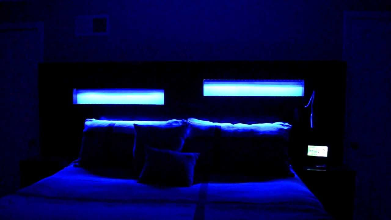 custom leds in custom headboard king size bed