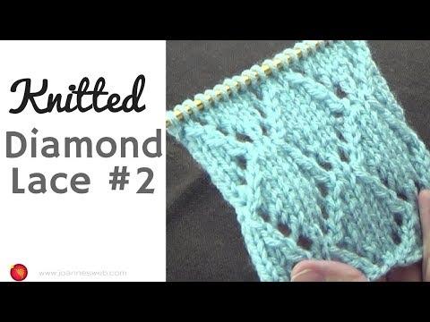 Knitted Diamond Lace #2 - Diamond Knitting Pattern - Geometric Knit Instructions