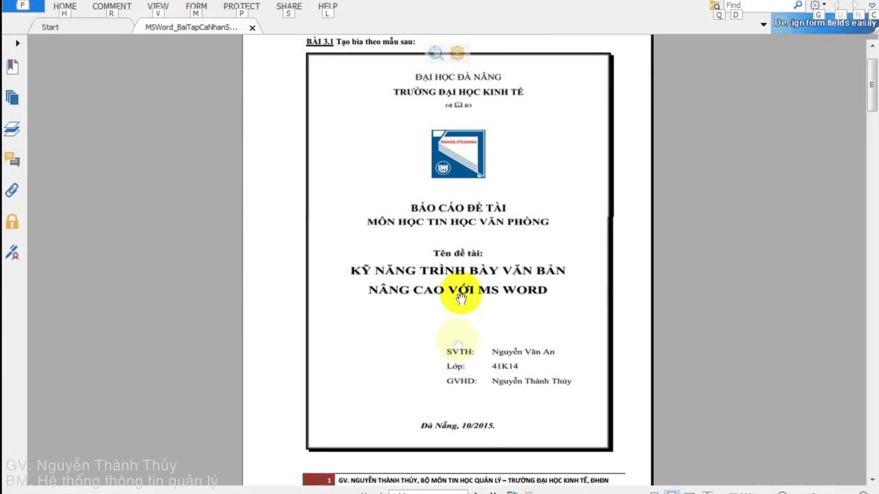 [MS.WORD] – Bài 3.1. Kỹ thuật tạo trang bìa cho báo cáo