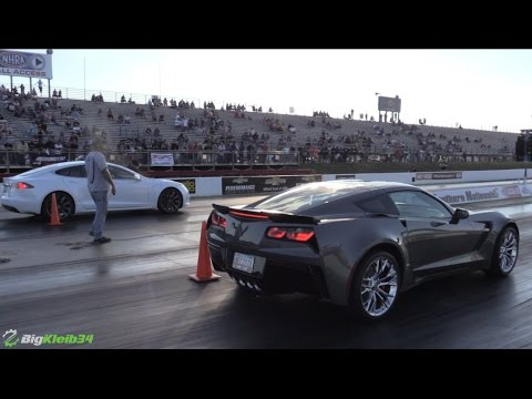 Tesla Model S Hustles NEW Corvette Z06 & Modded Hellcat