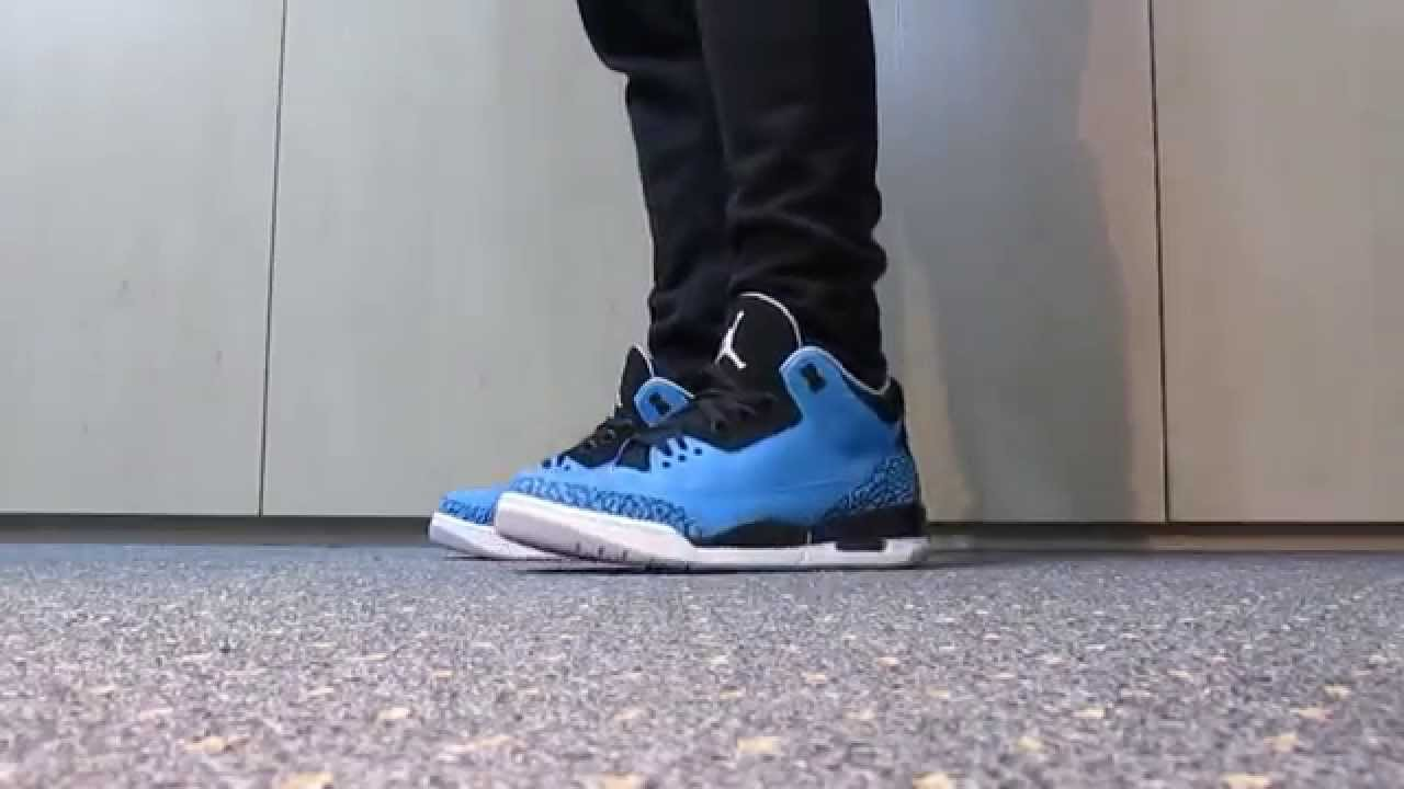 ... AIR JORDAN 3 RETRO POWDER BLUE ON FEET - YouTube ... 521621fec