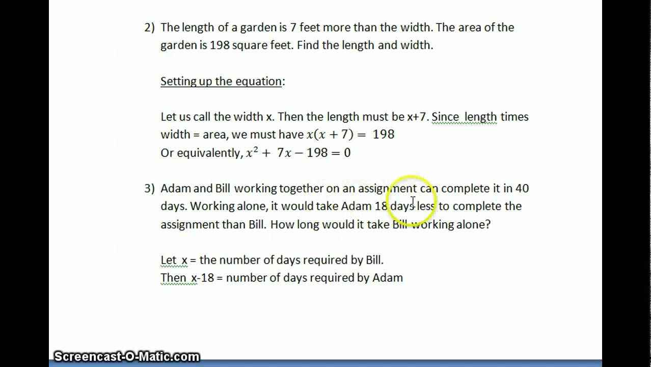 worksheet Quadratic Formula Word Problems Worksheet honors algebra 2 quadratic word problems equation leading to equations youtube