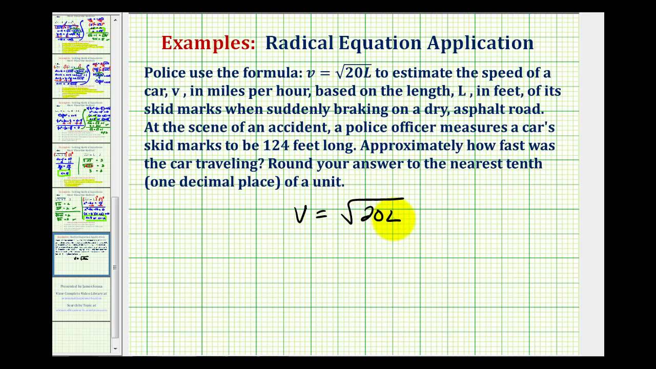 Radical Equation Application - Vehicle Speed From Skid Mark Length
