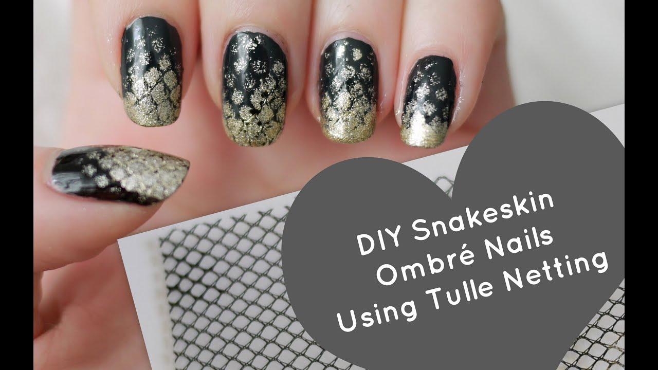 Easy DIY Snakeskin Ombré Nails Using Tulle Netting - YouTube