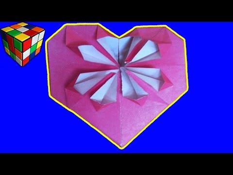 Как сделать сердечко из бумаги Подарок-Сердце Оригами своими руками Поделки из бумаги смотреть в хорошем качестве